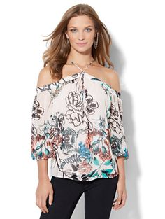 Shop 7th Avenue Design Studio - Off-The-Shoulder Tie-Neck Blouse . Find your perfect size online at the best price at New York & Company.