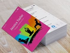 Creative Colorful YOGA Pilates Instructor Business Card