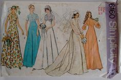 Vintage 1970's Simplicity 6160 Sewing Pattern Wedding Dress Gown Bridal Bridesmaid Classic Simple Elegant by CartrefEclectig on Etsy