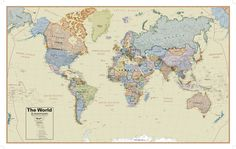 Worldmaplargedetailedphysicalfabricposter20x13 hemispheres boardroom series world wall map educational poster giant poster at allposters gumiabroncs Gallery