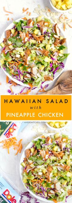 Hawaiian Salad with Pineapple Chicken - This healthy, tropical salad has ginger-soy marinated chicken, pineapple chunks, romaine lettuce, red cabbage, carrots, almonds, and a soy sauce and sesame vinaigrette! #sponsored @DolePins