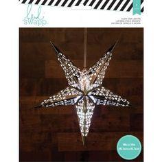 American Crafts Heidi Swapp Paper Lantern Small Five Point Star Silver 11,