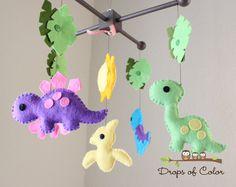 "Baby Crib Mobile - Baby Mobile - Dinosaur Girl Mobile - Nursery Crib Mobile - ""Dino Land / Dinosaurs"" Design. $80.00, via Etsy."