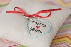 CUSTOM ring pillow with couple's names