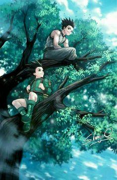 Commission of Gon and Ging from Hunter X Hunter! Hunter X Hunter - Gon and Ging Killua, Hisoka, Leorio Hxh, Me Anime, Chica Anime Manga, Fanarts Anime, Anime Guys, Anime Art, Manga Girl