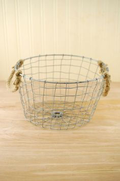 """Farmhouse Wire Basket with Rope Handles 10"""""""