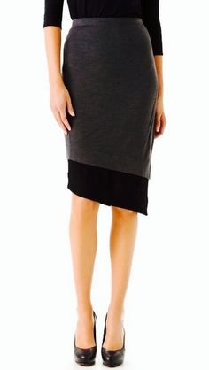 Donna Karan Casual Luxe Two Tone Skirt With uneven Hem