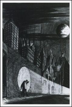 """The Pedestrian"" (1951) by Ray Bradbury ~ illustration from Joseph Mugnaini"