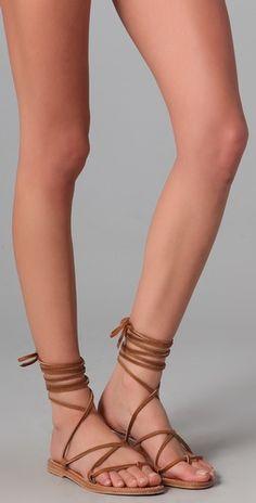 The perfect flat summer sandal.  K Jacques Bikini wrap sandal.