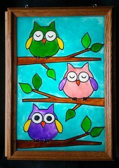 Owls Window Art faux stain glass painted glass sun catcher