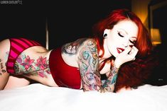 Art inked on a masterpiece! Sexy Tattoos, Girl Tattoos, Tattoos For Women, Female Tattoos, Top Tattoos, Tattoo Photography, Lord, Hottest Redheads, Beautiful Redhead