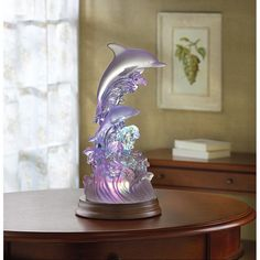 NEW Dolphins On Waves Of Light Sculpture Statue