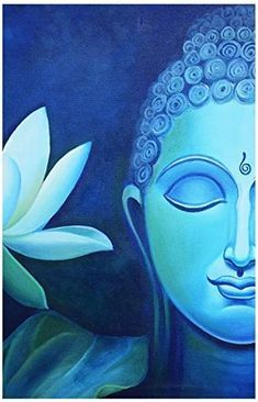 Beautiful Half Face Buddha Painting (Canvas Print, cm x 70 cm) Budha Painting, Painting & Drawing, Lotus Painting, Fabric Painting, Painting Abstract, Buddha Kunst, Buddha Art, Buddha Canvas, Buddha Lotus