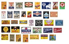 1 43 Scale Model Vintage Garage Signs Set 2 Stickers Decals Gloss Finish