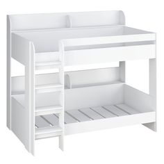 The Kidsaw Aerial Bunk Bed White is a great space saving design for brothers and sisters alike that share their space. Bunk Beds With Drawers, Bunk Beds With Stairs, Kids Bunk Beds, White Wooden Bunk Beds, Single Bunk Bed, Bed For Girls Room, Fantasy Bedroom, Cool Kids Rooms, Bunk Bed Designs