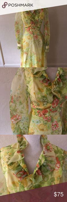 """Vintage Floral Long Sheer Dress size XXS-XS 70's perfection! Floral chiffon long sleeve dress. Buttons up front with ruffle detail at neck. Zips up back. In PERFECT condition!  B: 32"""", W: 26"""", H: 34"""", L: 54"""" Vintage Dresses Long Sleeve"""