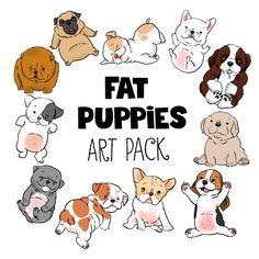 dog cartoons, dog portraits, pug cartoon, beagle cartoon, frenchie cartoon, bulldog cartoon, pitbull cartoon, fat puppy, chubby puppy cartoon, dog clip art