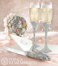 Bring glamour to every part of your wedding with the personalized Duke and Duchess champagne flutes and cake server set! Engrave your names, wedding date or a custom wedding logo for the perfect touch to the perfect wedding! Things Remembered