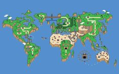 This map of the world reimagined in the style of <i>Super Mario's</i> Mushroom Kingdom.