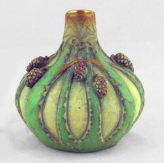 Paul Dachsel Green Pine Cone Vase. Teplitz, Austria, 1906