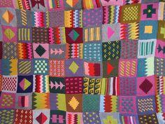 knitted blanket, multicolored, patchwork. sihirilpler, via etsy.