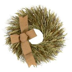 """Twig and wheat wreath with a burlap bow.  Product: WreathConstruction Material: Preserved wheat, dried grass, twig and juteColor: Green and brownDimensions: 16"""" Diameter x 5"""" D"""