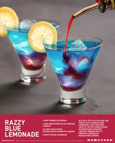 Here's a great new summertime cocktail recipe for the 4th of July or a summer BBQ party! 1 part Pinnacle® Vodka, 1 part DeKuyper® Blue Curacao Liqueur, 1/2 part DeKuyper® Razzmatazz® Schnapps Liqueur, 3 parts fresh Lemonade.