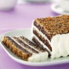 German Brownie Torte - While mine didn't turn out quite as pretty as this picture, it was extremely rich and delicious and everyone loved it! Cake Recipes, Dessert Recipes, Dessert Ideas, Sweet Recipes, Yummy Recipes, Cake Like Brownies, Mothers Day Desserts, Oktoberfest Food, Sweets