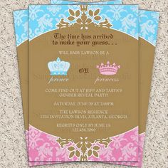 Prince or Princess Royal Gender Reveal Party by InvitationBlvd, $10.99