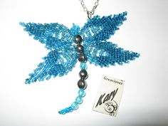 libélula azul, mostacilla, chaquira, beads