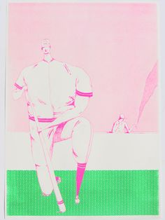 Image of Jack Sachs Risograph Print he uses color and pattern, as well as varying sizes of the figures to create depth and a even composition