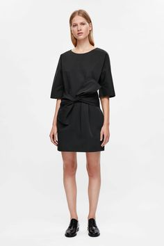 COS image 1 of Short dress with tie waist in Black