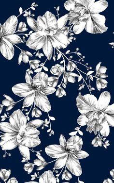 Fundo azul com flores brancas