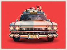 Ghostbusters 30th Anniversary Ecto-1 // Print by DKNG