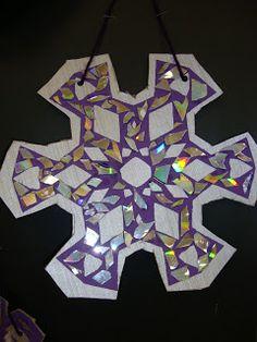 Thomas Elementary Art: Recycled CD Snowflake Mosaics by 4th Grade