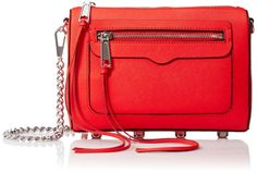 Rebecca Minkoff Avery Crossbody, Dragon Fruit. Structured handbag featuring piping trims and hardware feet. Chain cross-body strap with leather shoulder.