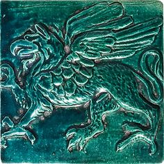 "Griffin, Righ-Facing, Color: Blue Green, 6X6"" Decorative Tile"