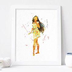Disney Pocahontas poster Princess Watercolor Art Print nursery Wall decor, Watercolour Print, Disney Princess Poster