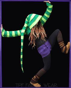 2 tone Fleece 'Korrigan' Shrug- 24 stripe Ultimate pixie hood/12 Stripe Sidhe sleeves by tpffaeriewear on Etsy https://www.etsy.com/listing/257416494/2-tone-fleece-korrigan-shrug-24-stripe