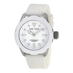 Nautica White Dial White Silicone Rubber Unisex Watch A09603G. http://www.watchvendor.ca/nt-a09603g.html