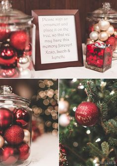 Christmas ornament wedding guest book