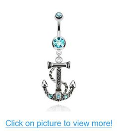 Aqua CZ 316L Surgical Steel Anchor Sea Theme Gemmed Dangle Navel Belly Ring Anchor Rings, Sea Theme, Belly Rings, Navel, Dangles, Aqua, Gems, Jewelry, Belly Button