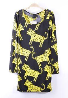 for the inner *roar* in you. ++ Yellow Leopard Dress