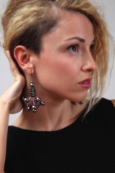 papier machè dark red earrings