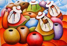 Pintura y Fotografía Artística : Cuadros con Espatula de Peruanas Campesinas