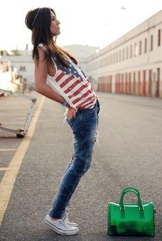 Denim skinny jeans, converse, red, white & blue tank.