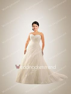 [$189.00] Fabulous A-line Sweetheart Beaded Tulle Plus Size Wedding Dress