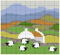 Maybe in long stitch with french knot sheep? Knitting Charts, Knitting Stitches, Knitting Patterns, Tapestry Crochet, Crochet Motif, Cross Stitching, Cross Stitch Embroidery, Cross Stitch Designs, Cross Stitch Patterns