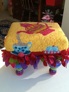 Tea Party Stool for Greta via Claire Taylor from Rug Hooking Daily