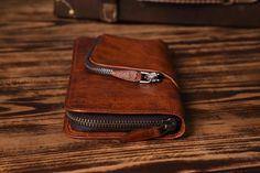 Handmade Long Leather Wallet Card Holder Vintage Brown Leather iPhone Wallet